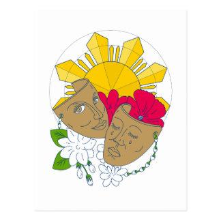 Postal Flujo filipino de Sampaguita del hibisco de Sun de