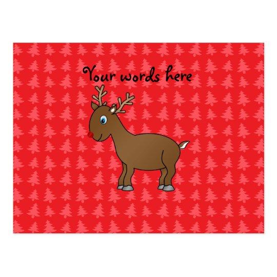 Postal Fondo rojo del árbol de navidad del reno lindo