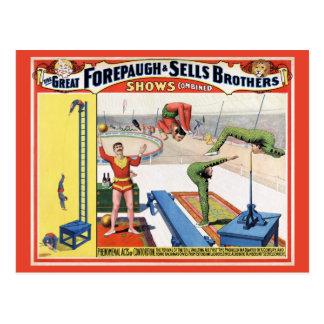 Postal Forepaugh y poster del circo del vintage de los