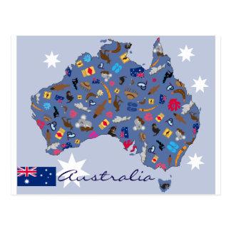 Postal Forma del país de Australia con los iconos