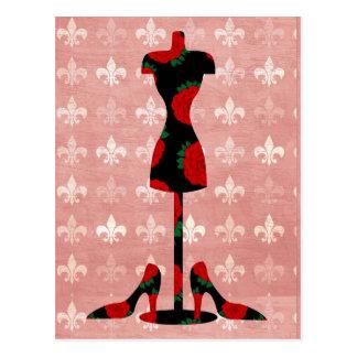 Postal Forma y talones del vestido de los rosas