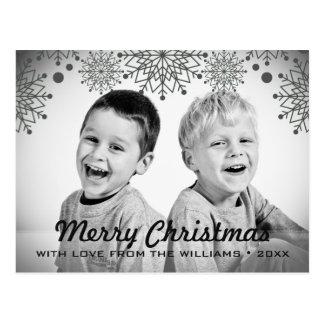 Postal Foto blanco y negro alegre del día de fiesta del