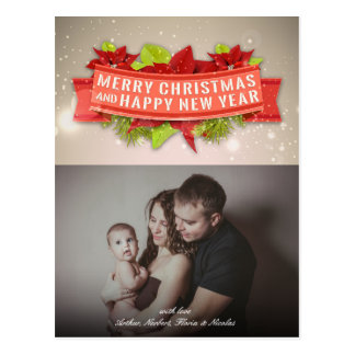 Postal Foto de las Felices Navidad del Poinsettia y de la
