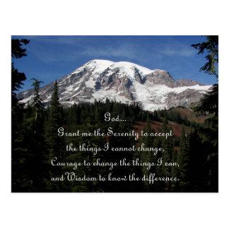 Postal Foto del Monte Rainier del rezo de la serenidad