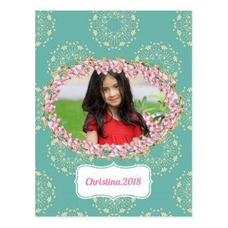 Postal Foto enmarcada personalizada estampado de flores