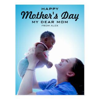 Postal Foto feliz del día de madre de la tipografía