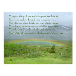 Postal Foto irlandesa del arco iris de la bendición