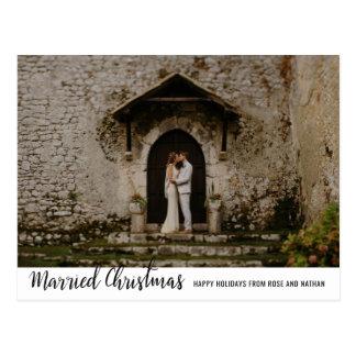 Postal Foto manuscrita casada de los pares del día de