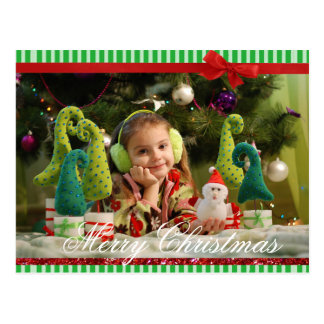 Postal Foto simple del navidad del arco verde
