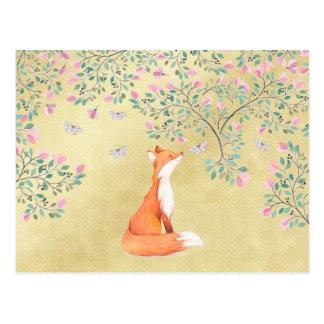 Postal Fox con las mariposas y las flores rosadas