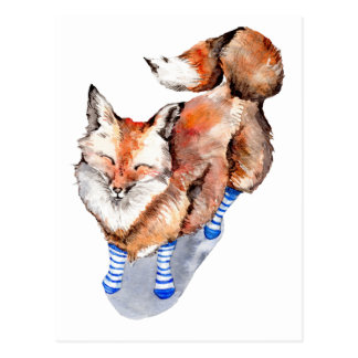 Postal Fox en calcetines