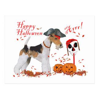 Postal Fox terrier Halloween del alambre
