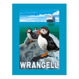 Postal Frailecillos y barco de cruceros - Wrangell,