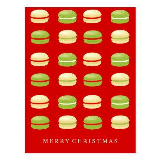 Postal Francés rojo Macarons del navidad verde y blanco