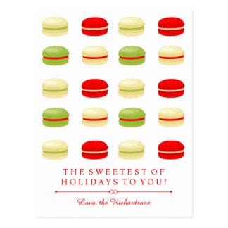 Postal Francés rojo y verde Macarons del navidad en