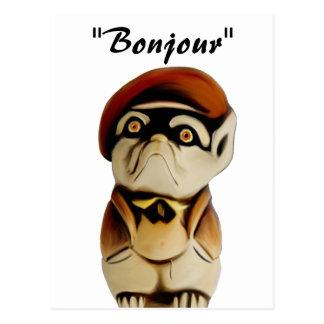 Postal francesa de Bonjour del perro
