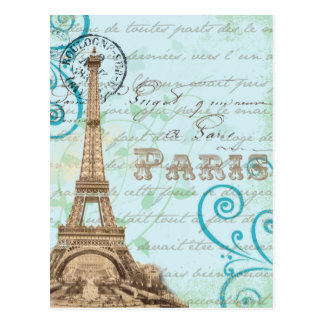 Postal francesa de la aguamarina de la escritura d