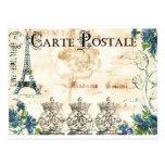Postal francesa de la torre Eiffel del vintage