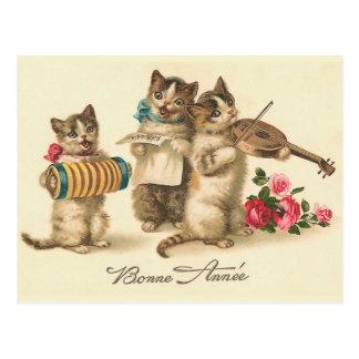 Postal francesa del Año Nuevo del vintage de