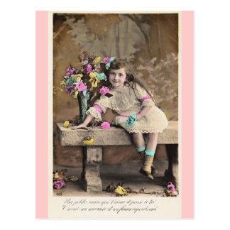 Postal francesa del chica del pequeño Victorian