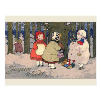 """Postal francesa del navidad del vintage de """"Joyeux"""