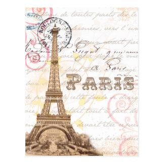 Postal francesa del rosa de la escritura del vinta