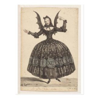 postal francesa del siglo XIX del traje del ballet