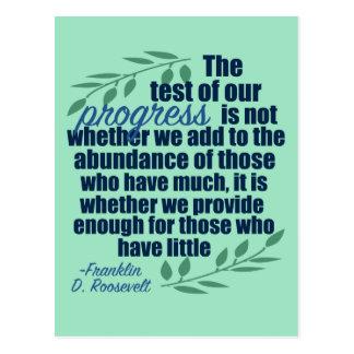 Postal Franklin D. Roosevelt en cita del progreso