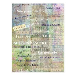 Postal Frases y palabras italianas románticas
