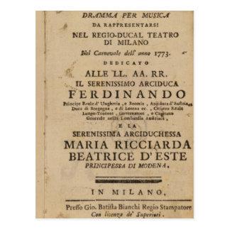 Postal Frontispiece Lucio Silla de Mozart de '