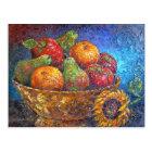 Postal Frutas y arte de la pintura del girasol - multi