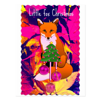 Postal fucsia retra del pequeño navidad del zorro