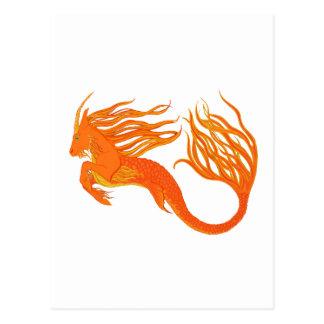 Postal Fuego del naranja del caballo de Koi