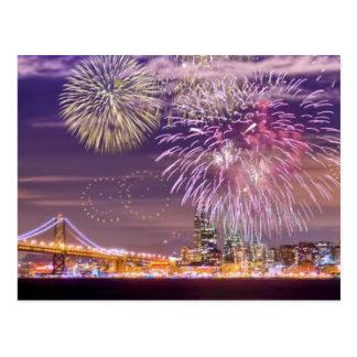 Postal Fuegos artificiales del Año Nuevo de San Francisco