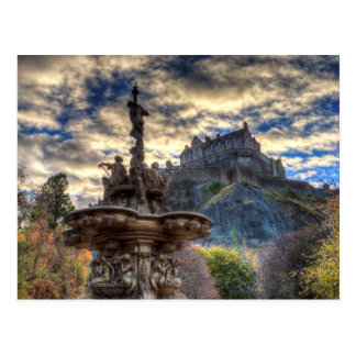 Postal Fuente de Ross y castillo de Edimburgo