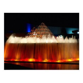 Postal Fuente del parque temático de Orlando encendida