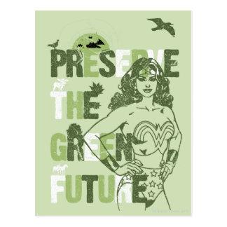 Postal Futuro verde de la Mujer Maravilla