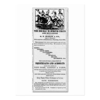 Postal G.F. Bailey y anuncio gigantesco doble del circo
