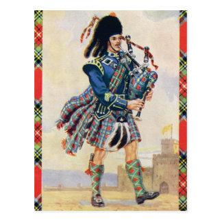 Postal Gaitero escocés, el oscilación de la falda