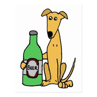 Postal Galgo con la botella de cerveza