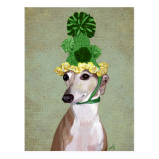 Postal Galgo en gorra hecho punto verde