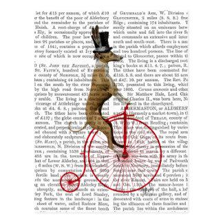 Postal Galgo en la bici roja del comino del penique