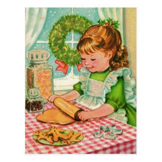 Postal galletas de la hornada del chica del navidad del