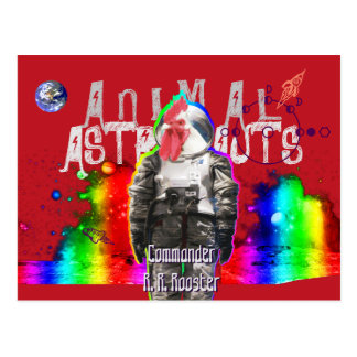 Postal Gallo animal de los astronautas