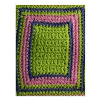 Postal Ganchillo azul, verde, rosa