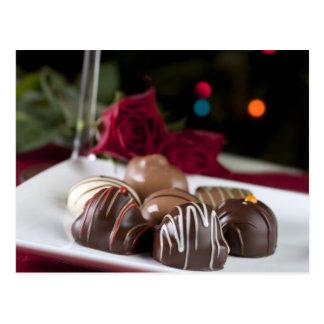 Postal gastrónoma de los chocolates del navidad