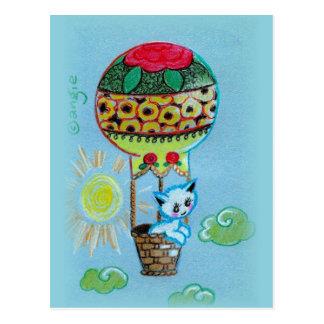 Postal Gatito lindo en el aire caliente Baloon