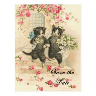 Postal Gatitos del Victorian que casan reserva la fecha