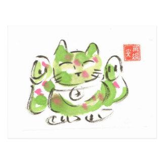 Postal Gato afortunado verde