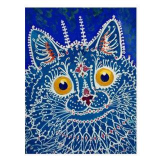 Postal Gato azul de Louis Wain